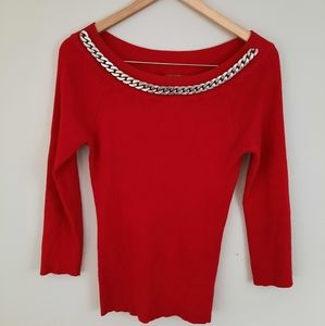 Belldini Red Sweater Quarter Sleeve Blouse Size LG